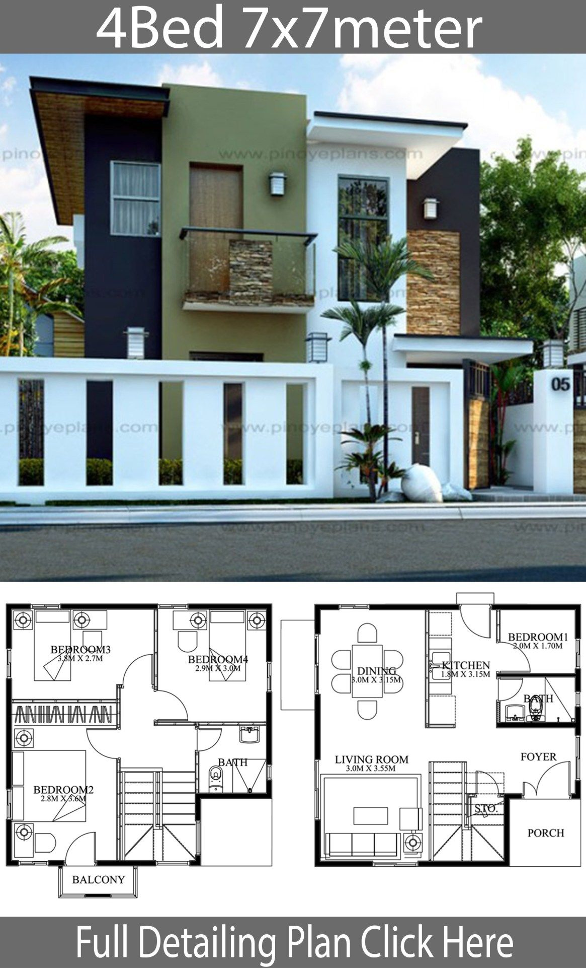 Modern Home Design 7x7m With 4 Bedrooms Home Design With Plansearch Bungalow House Design House Architecture Design House Designs Exterior