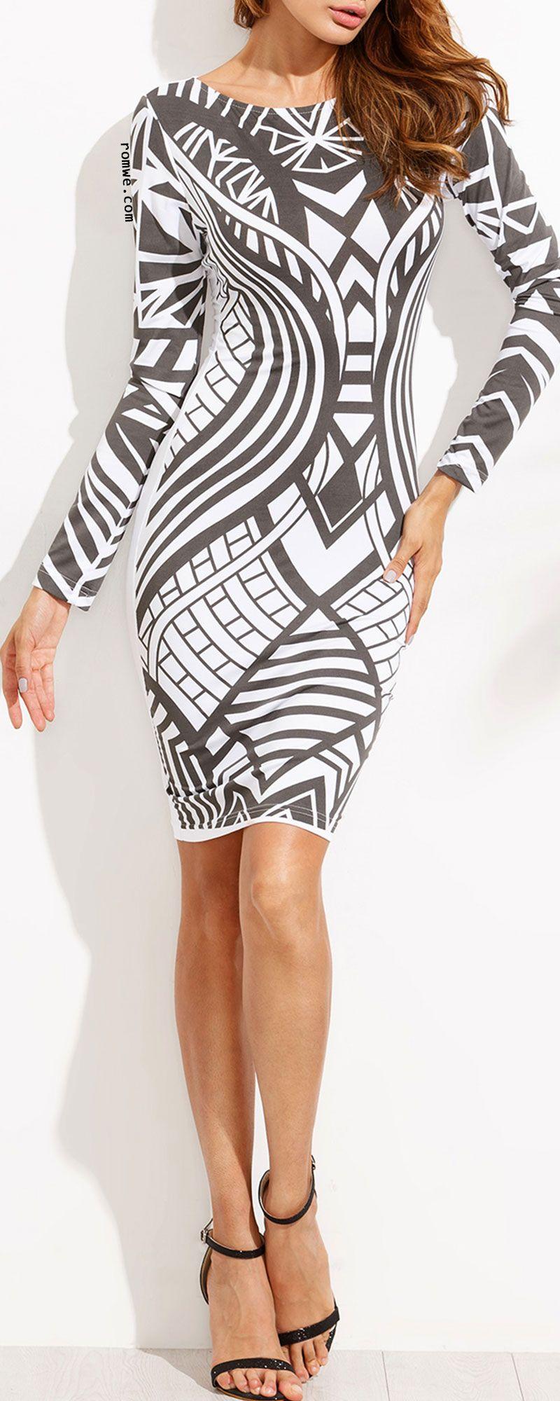 Contrast Print Long Sleeve Bodycon Dress