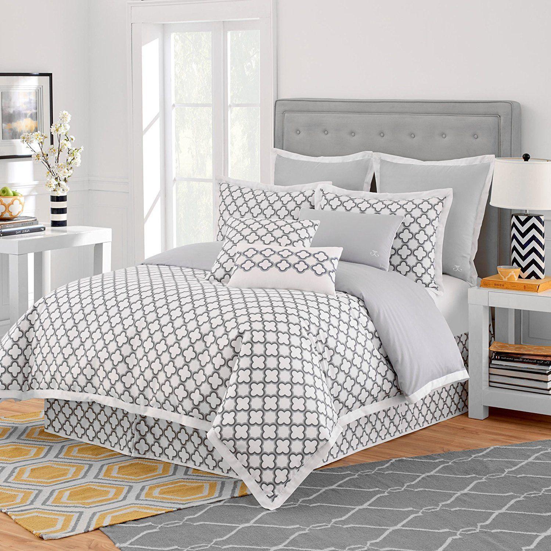 King Luxurious Grey White forter Set & High Class Bedding