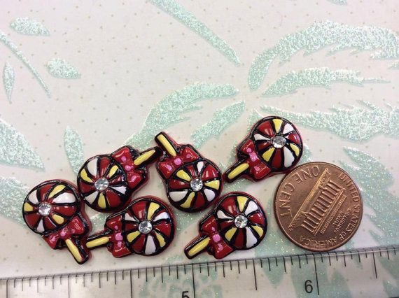 6 Detailed Red and White Lollipop Cabochons by creationandsupplies, $3.25
