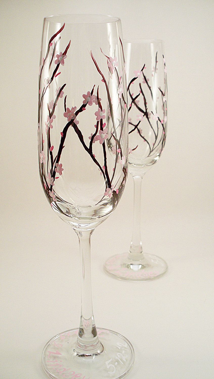Spring wedding cherry blossoms - hand painted champagne flutes - set ...
