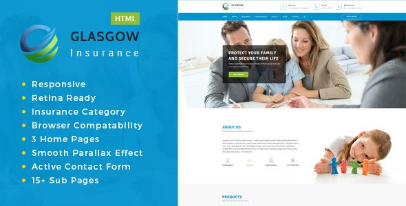 Glasgow Insurance Coverage Agency Html Template Small Business Html Templates Templates Business Downloads