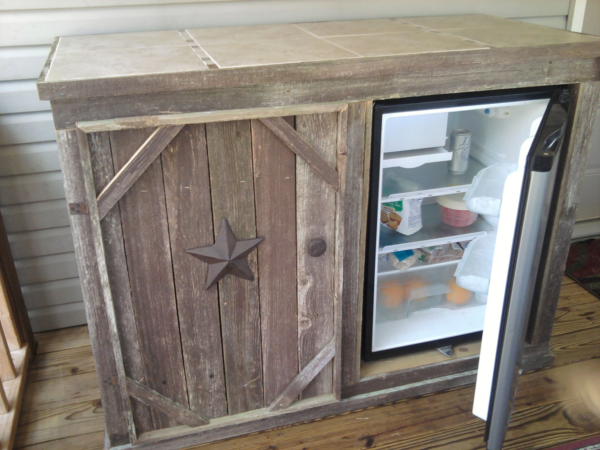 Best Deck Cabinet With Refrigerator Open Door Tile Top 400 x 300