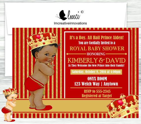 Red And Gold Royal Prince Baby Shower Invitation, Little