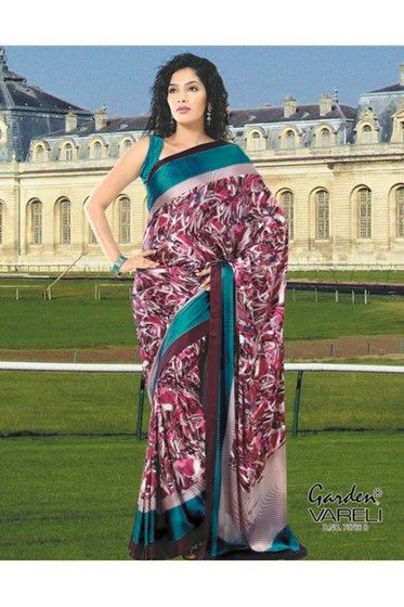 Buy Artistic Crepe #PinkSaree Online India at Best Low Price i.e at Rs.1,211/-