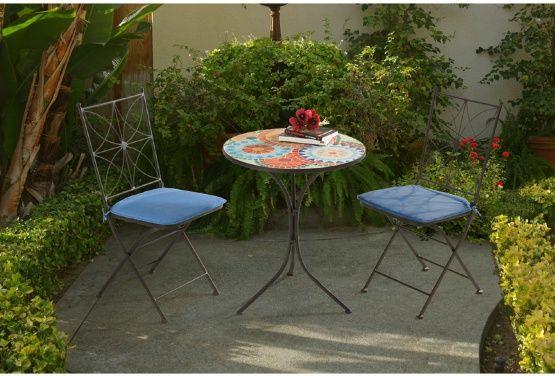 sunnest poppy multicolor mosaic 3 piece patio bistro set hail rh pinterest com