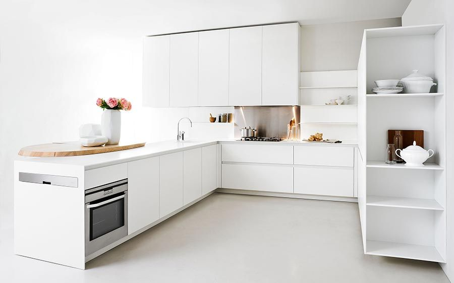 Modern Kitchen With Space Saving Solutions Design Ideas White