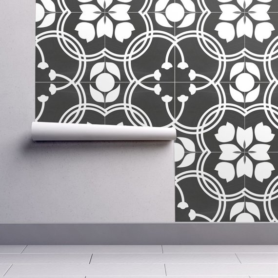 Spanish Tile Wallpaper Modern Farmhouse By Mintedtulip Grey White Custom Printed Removable Self Adhesive Wallpaper Roll By Spoonflower Tile Wallpaper Modern Wallpaper Farmhouse Wallpaper