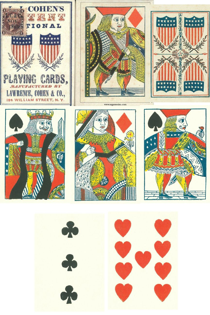 Authentic reproduction of a civil war playing card deck by