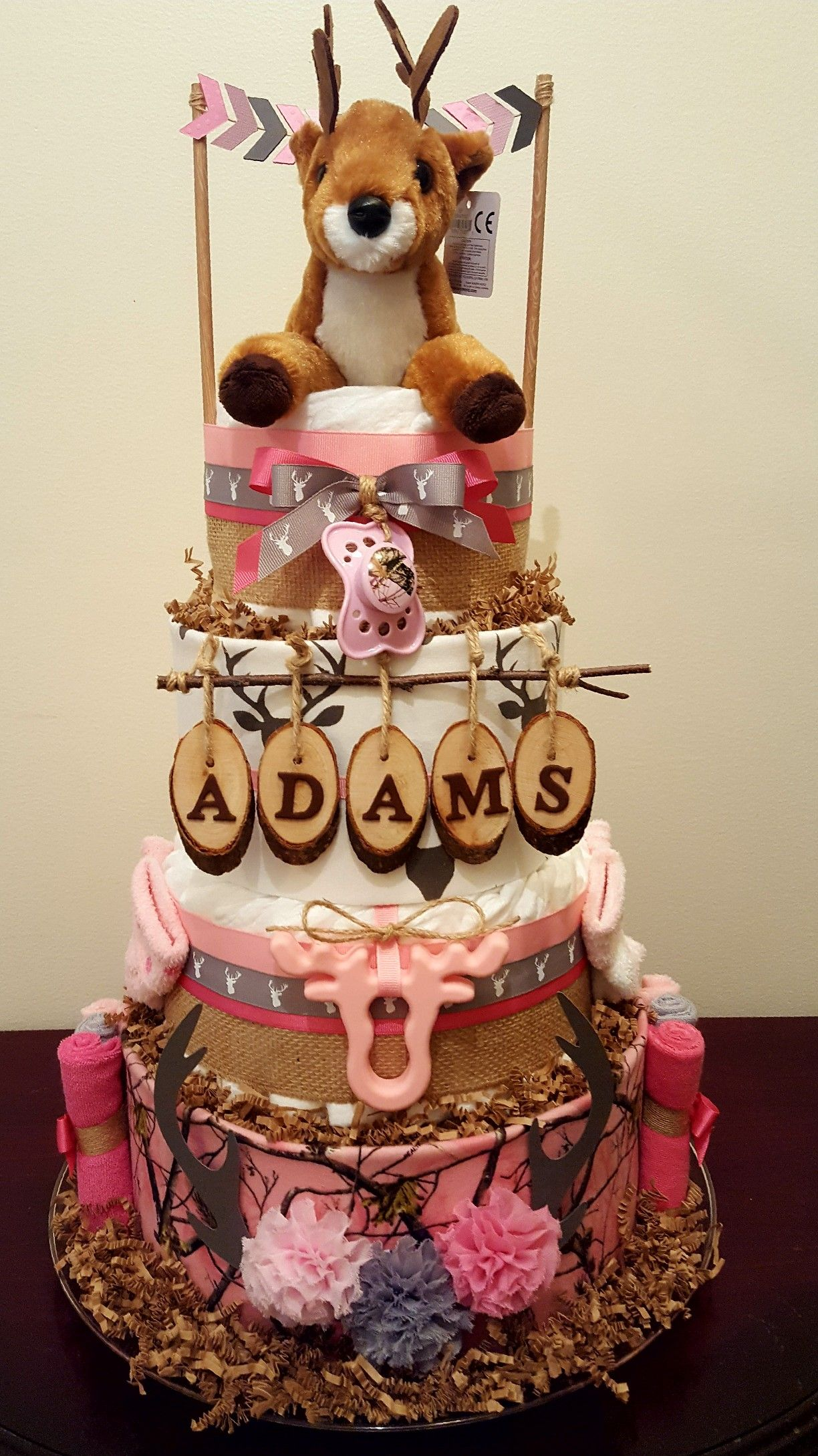 Little Hunter Diaper Cake Pink Camo And Deer Baby Shower Daddy S