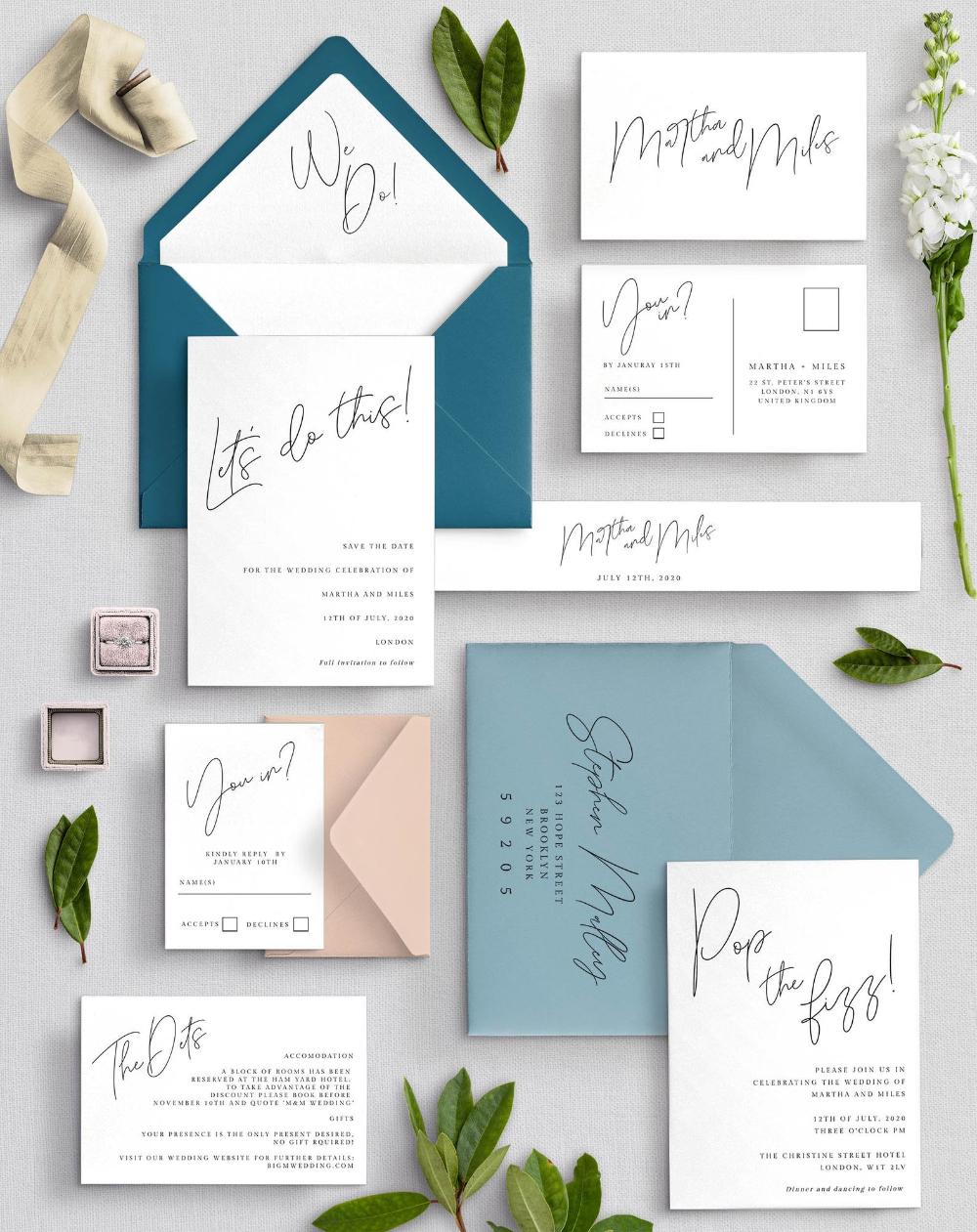 Informal Calligraphy Wedding Invitation Template Suite