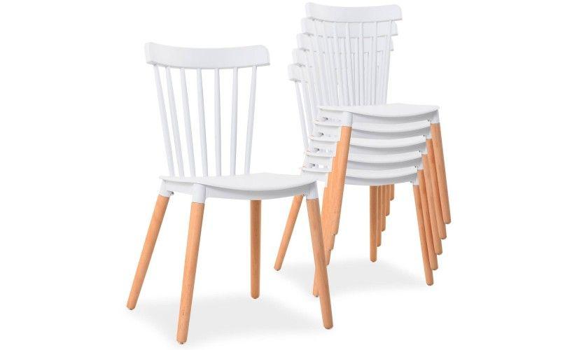 Lot De 6 Chaises Scandinaves Empilables Alaska Blanc Lot De Chaises Chaise Chaise Empilable