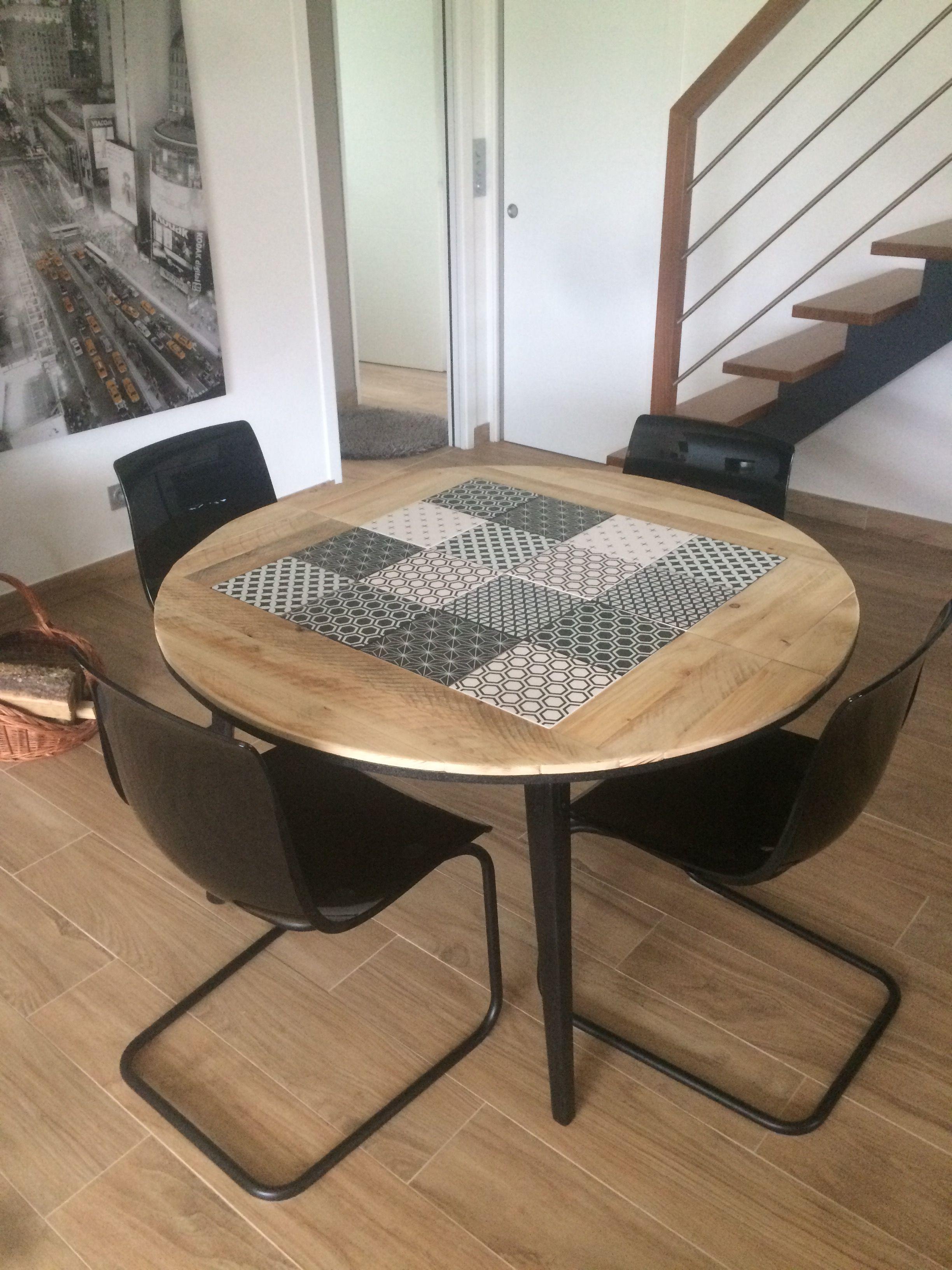 Table à Dîner Extensible : Bois / Carreaux Faïence
