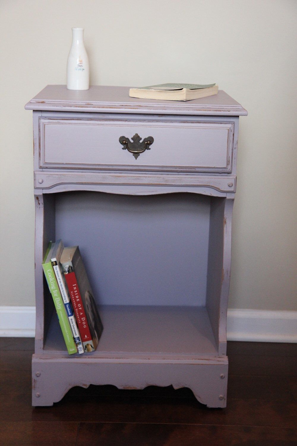 Purple/lavender chalk painted end table/nightstand ...