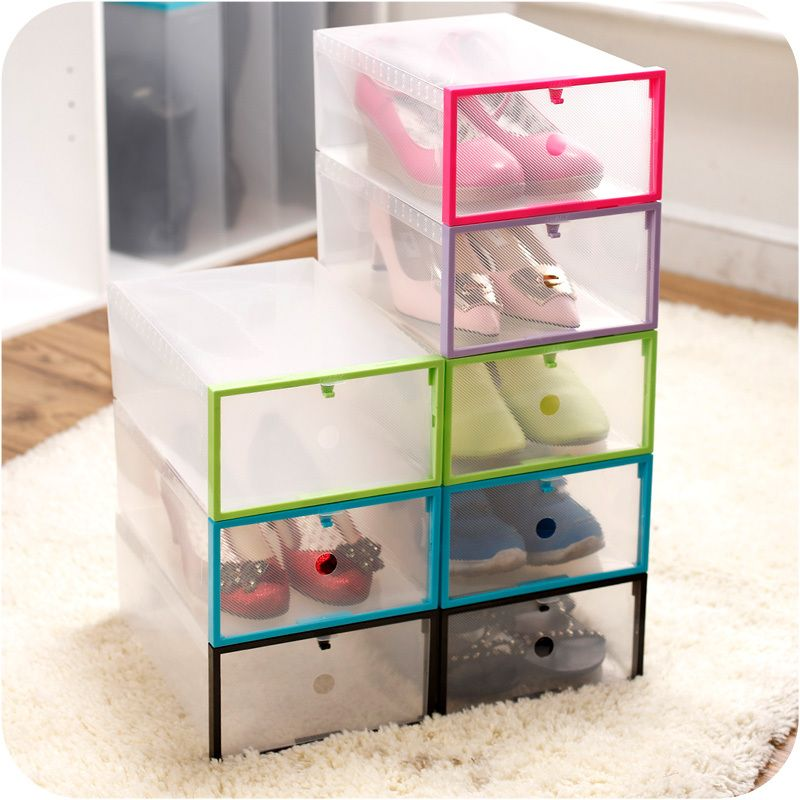 Pcs Transparent Clear Plastic Shoe Boxes Drawer Case Stackable Foldable Organizer Box For General Thigh
