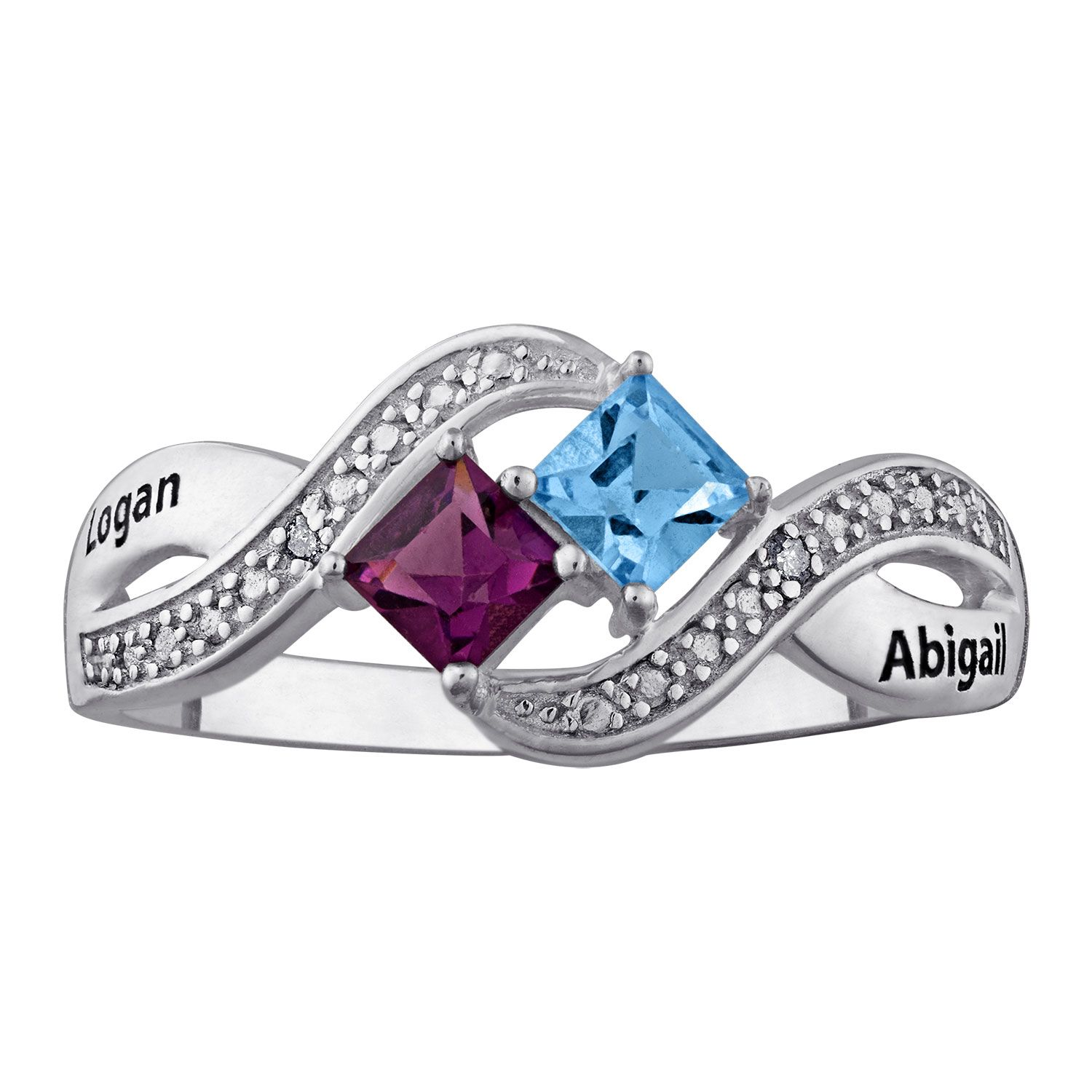 Fine Jewelry Personalized Diamond-Accent Couples Name Birthstone Crossover Ring QyK86l6D9