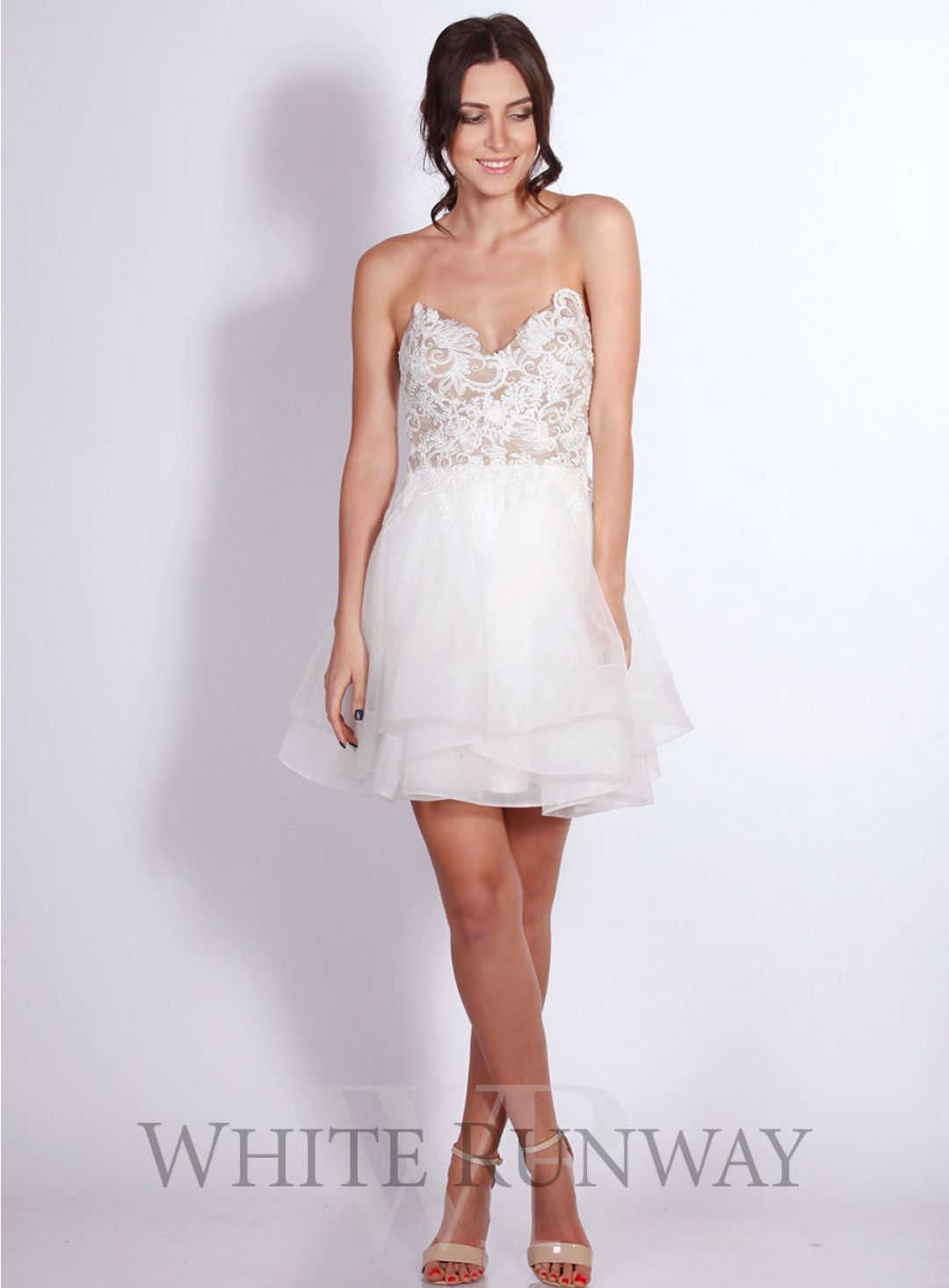 Strapless fitted lace wedding dresses  Alaria Tulle Dress A chic cocktail dress by Jadore A strapless