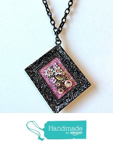 Wearable Art Necklace Black Frame with Rhinestones and Flowers from NatureAngels - Handmade, Upcycled and Vintage http://www.amazon.com/dp/B015HLRNS8/ref=hnd_sw_r_pi_dp_8ANfwb08VEFY2 #handmadeatamazon