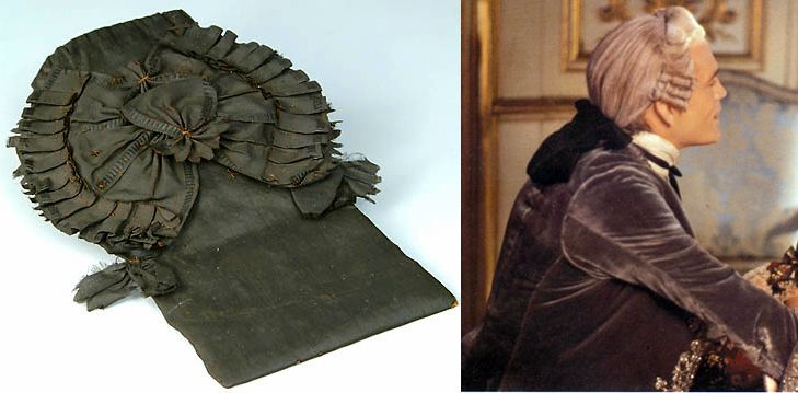 When formally dressed, Julian wears his long plait of hair in a black silk queue bag, such as the one shown here (left: flat, and right: as worn by the Vicomte de Valmont). Queue bags were often worn with powdered bag wigs to contain the pony tail or queue to keep their exquisitely embroidered frockcoats free of powder and pomade. http://www.cr.nps.gov/museum/exhibits/revwar/image_gal/morrimg/bagquequ.html #MIDNIGHTMARRIAGE #LucindaBrant #RoxtonFamilySaga #Roxton #Georgian