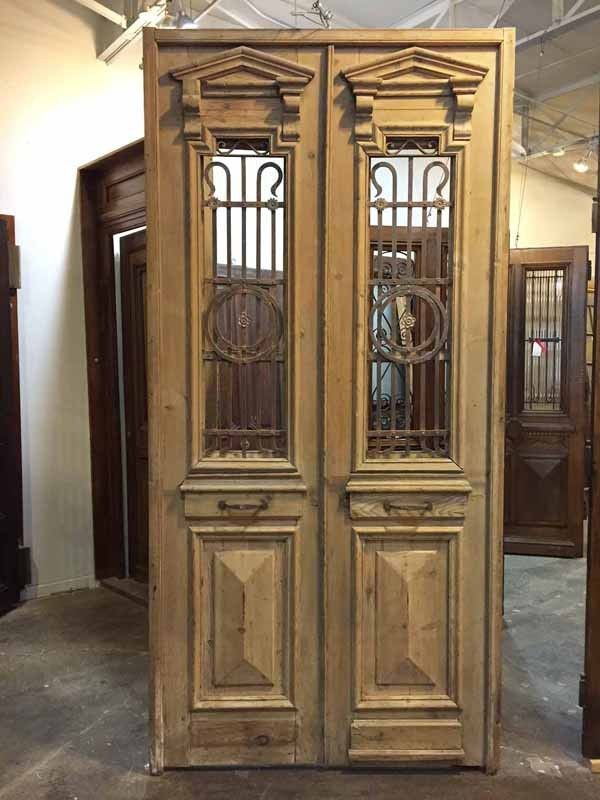 Antique Interior Doors   Buy Pair Of Antique Narrow Double Doors With  Ironwork. Browse The