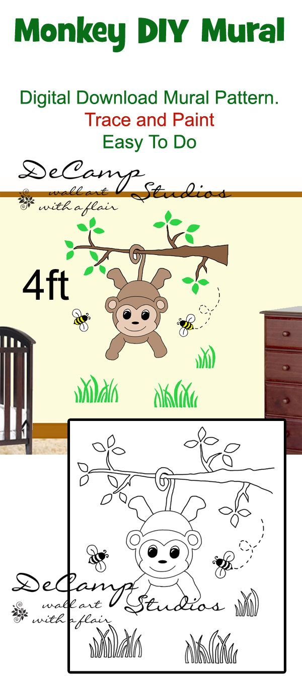 Diy jungle monkey wall mural printable pattern trace paint boy diy jungle monkey wall mural printable pattern trace paint boy amipublicfo Image collections