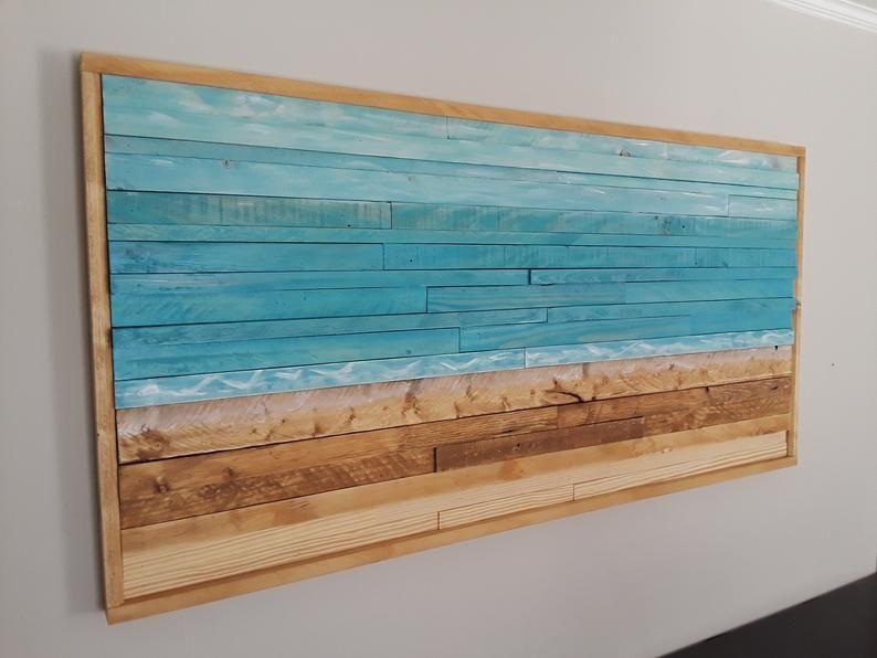 Beach Wood Wall Art Reclaimed Wood Wall Art Wood Wall Art Etsy In 2020 Reclaimed Wood Wall Art Rustic Wood Wall Decor Wood Wall Art Diy