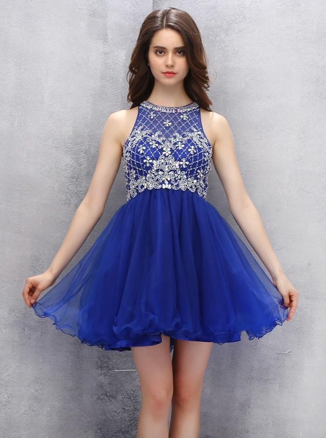 Short Blue Sweet Sixteen Dresses