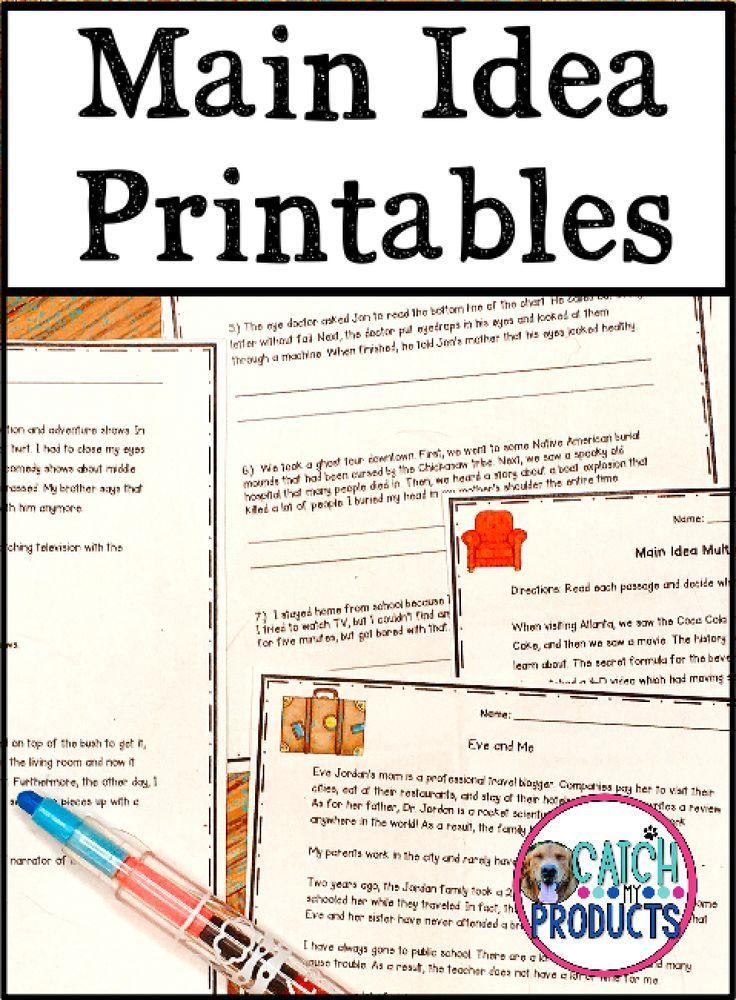Main Idea Worksheets in 2020 Teaching writing elementary
