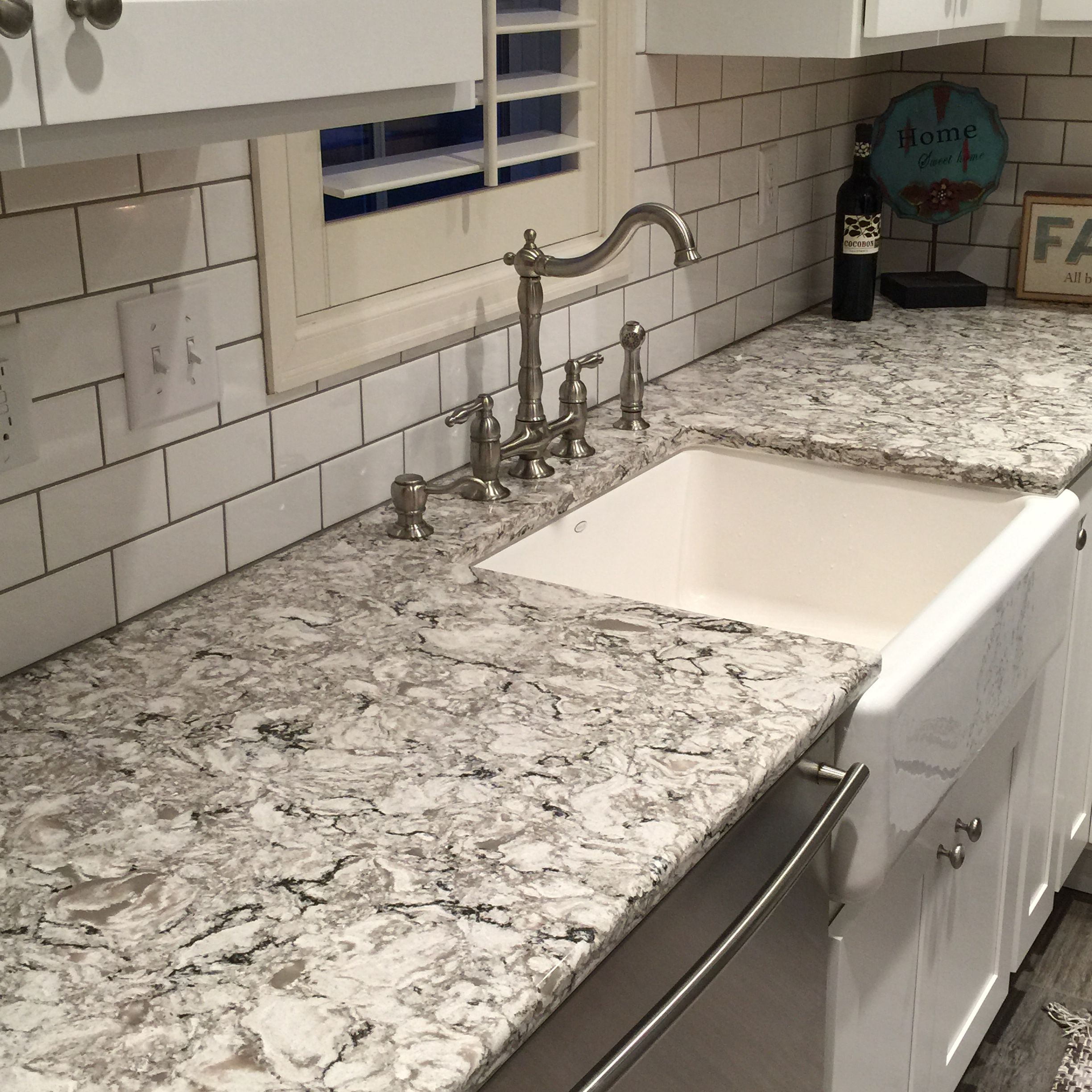 - Cambria Bellingham Kitchen Stone Center Clear Glass Tile