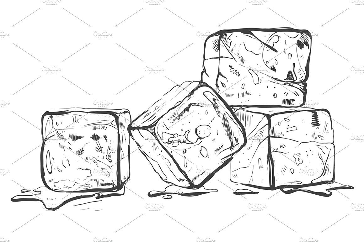 Ice Cubes Sketch Ice Cube Drawing Cat Lover Tattoo Texture Drawing