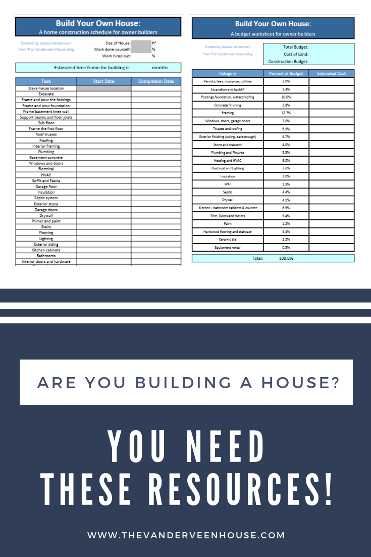 House Construction Schedule And Budget Worksheet Build Your Own House Building A House Home Construction
