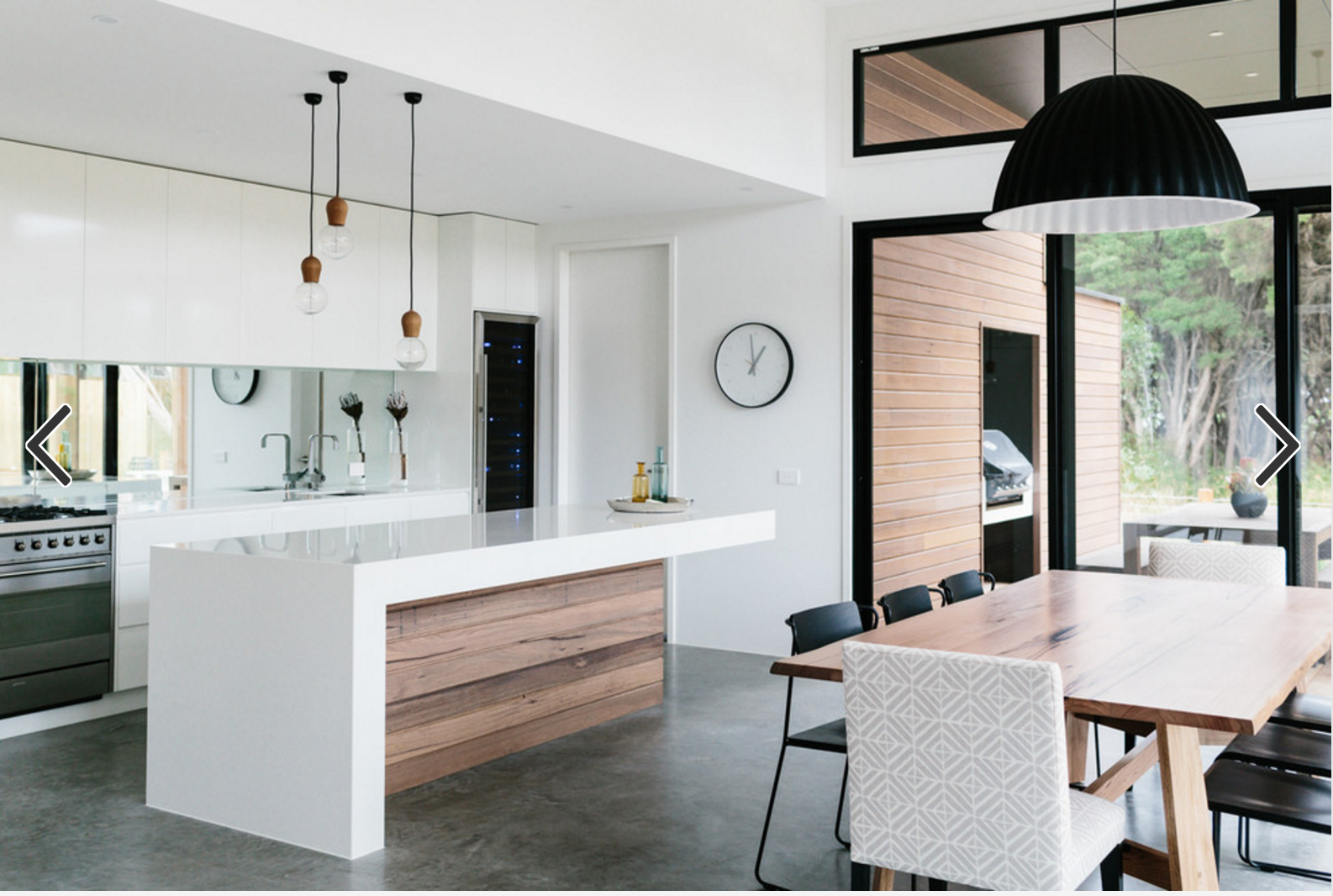 Cuttingedge contemporary style black white and wood is a winning