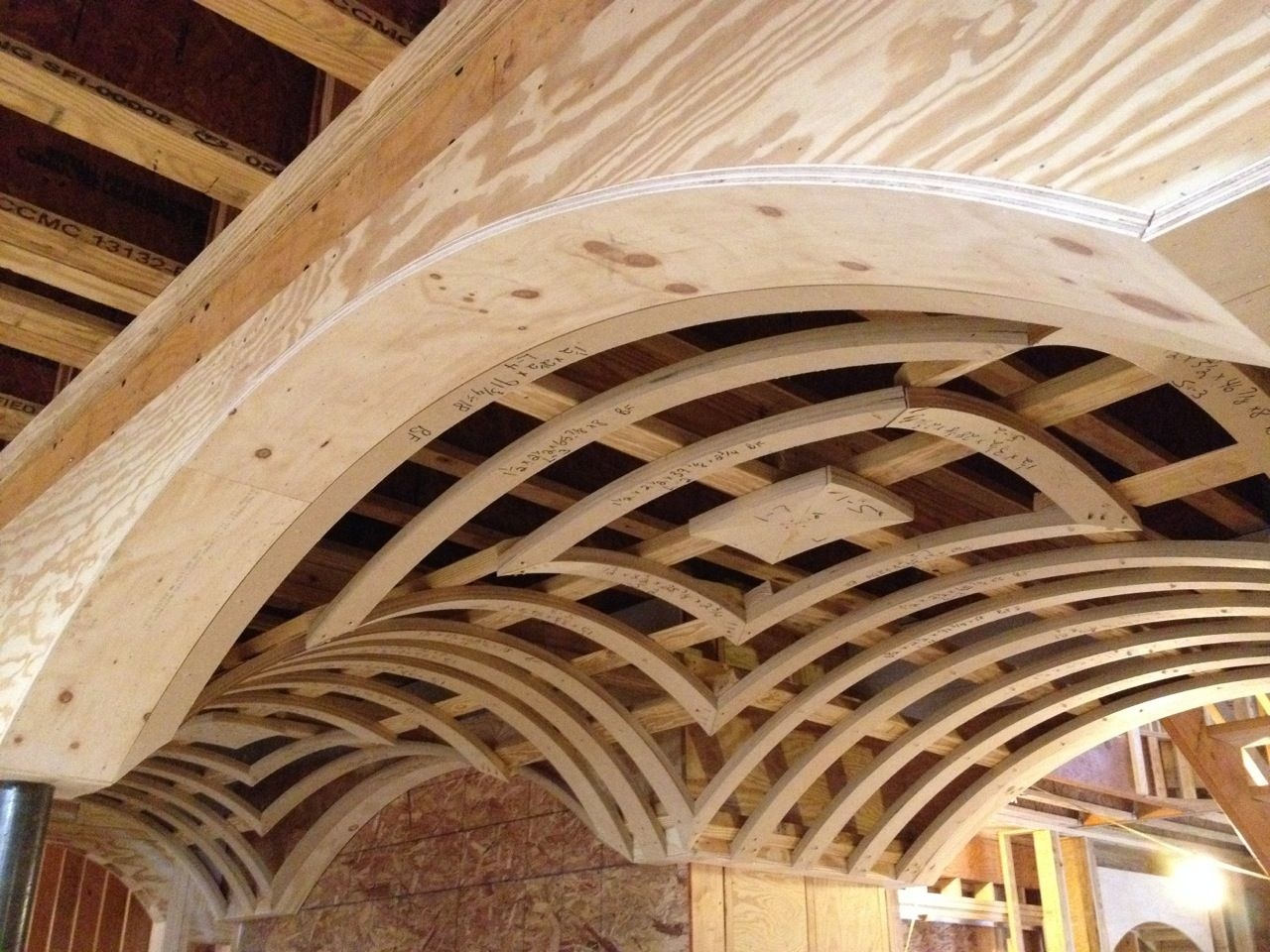 complex and meticulous carpentry. this is a groin vault ceiling