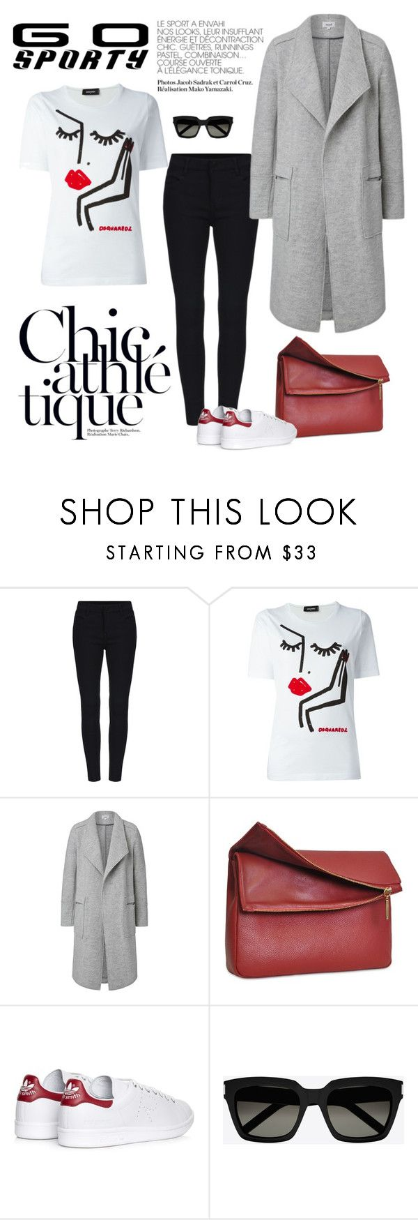 """Sporty Chic"" by cruzeirodotejo ❤ liked on Polyvore featuring Dsquared2, Eddie, adidas, Yves Saint Laurent and sportystyle"