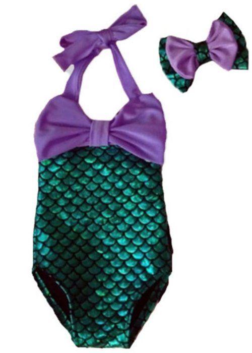 8e1a1bee556d1 Little Girls 2pcs Swimmable Mermaid Princess Bikini Swim Bathing Suit+headband  (6-7 Years)