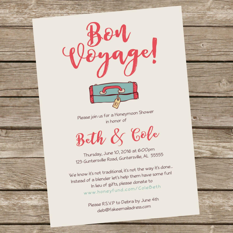 Bon Voyage! Printable Honeymoon Bridal Shower Party
