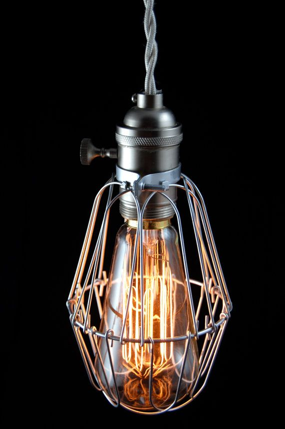 vintage industrial cage light pendant lamp 85 on etsy eclectic