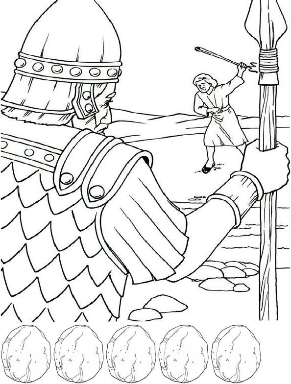 David and Goliath Coloring Page and Craft   sunday school ideas ...
