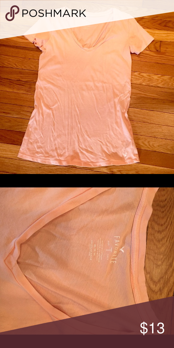 0fe8ae2d :american eagle: peach favorite tee Pale peach color basic v neck tee. Super  soft and comfy! Basic short sleeve tees- bundle for BOGO 50% off!