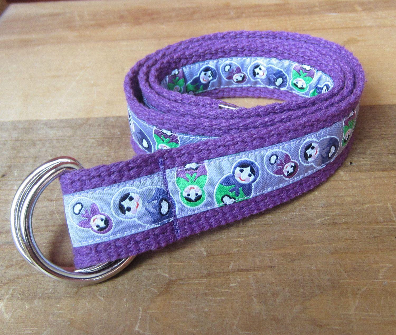 Russian Nesting Dolls D-Ring Belt - Toddler Children Kids - Premium European Woven Ribbon - Purple
