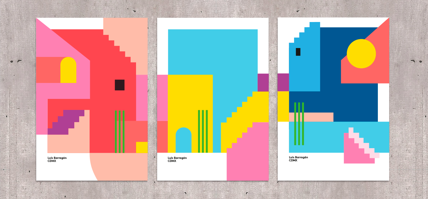 Poster serie inspired by the Mexican architect Luís Barragán and created during my stay Mexico City.