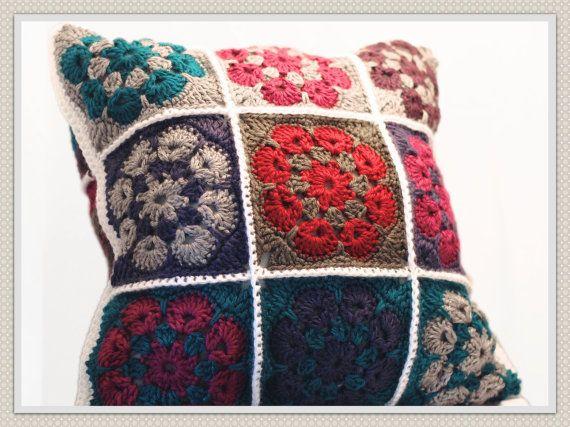 Hecho Por Encargo Ganchillo Hecho A Mano Almohada Abuela Plazas Decoracion Del Hogar Sofa Accesorios Almohadas Decorativas Wool Crafts Pillows Crochet