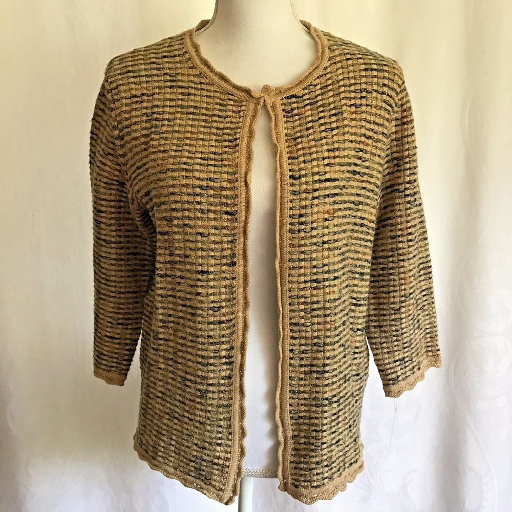 Details about Alfred Dunner Petite Cardigan Sweater Basket Weave ...