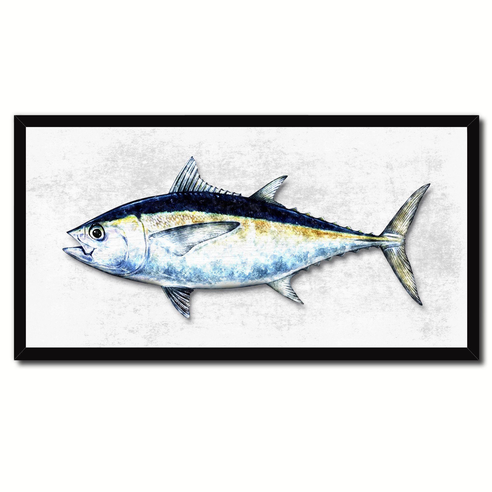 Tuna Blackfin Fish Art White Canvas Print Picture Frames Home Decor ...