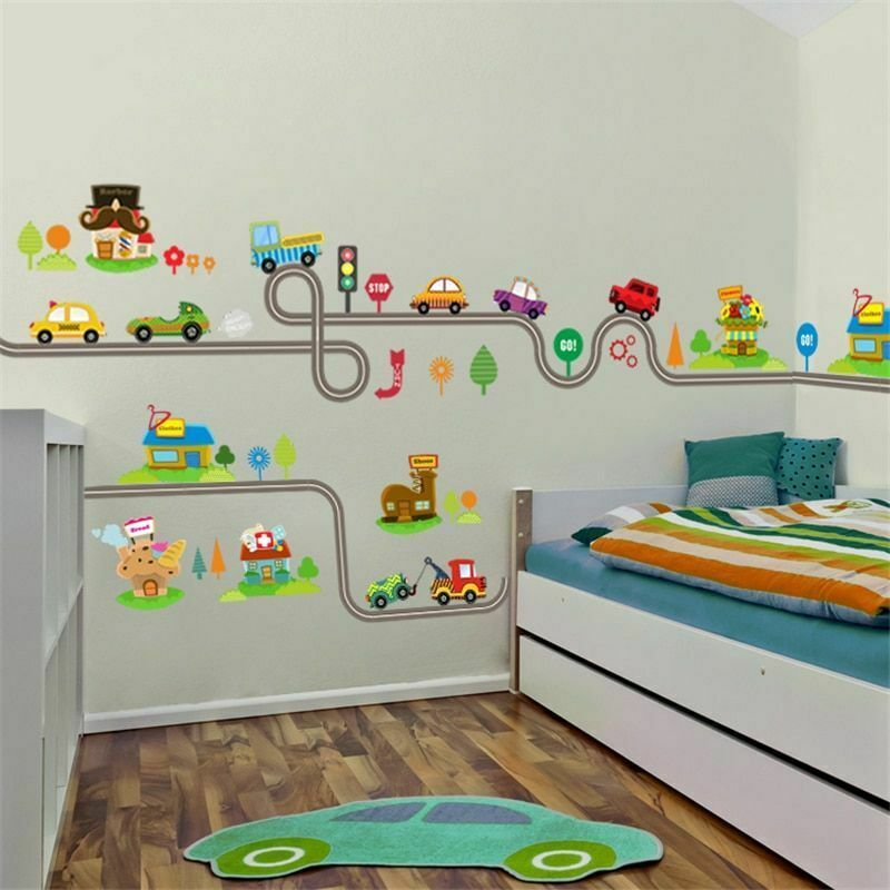 Cartoon Cars Highway Track Wall Stickers For Kids Rooms ...