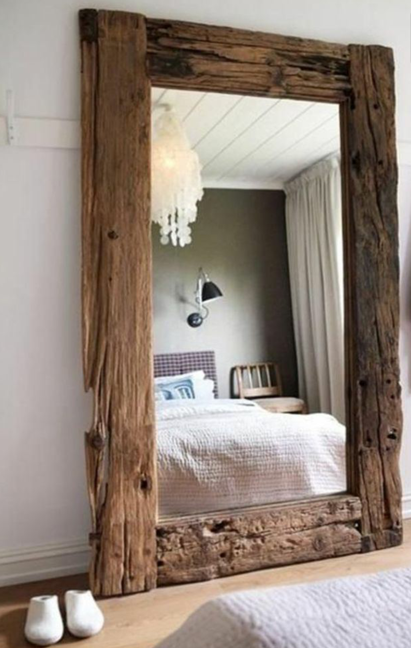 Espejo r stico en 2019 decoracion rustica espejos for Espejo madera envejecida