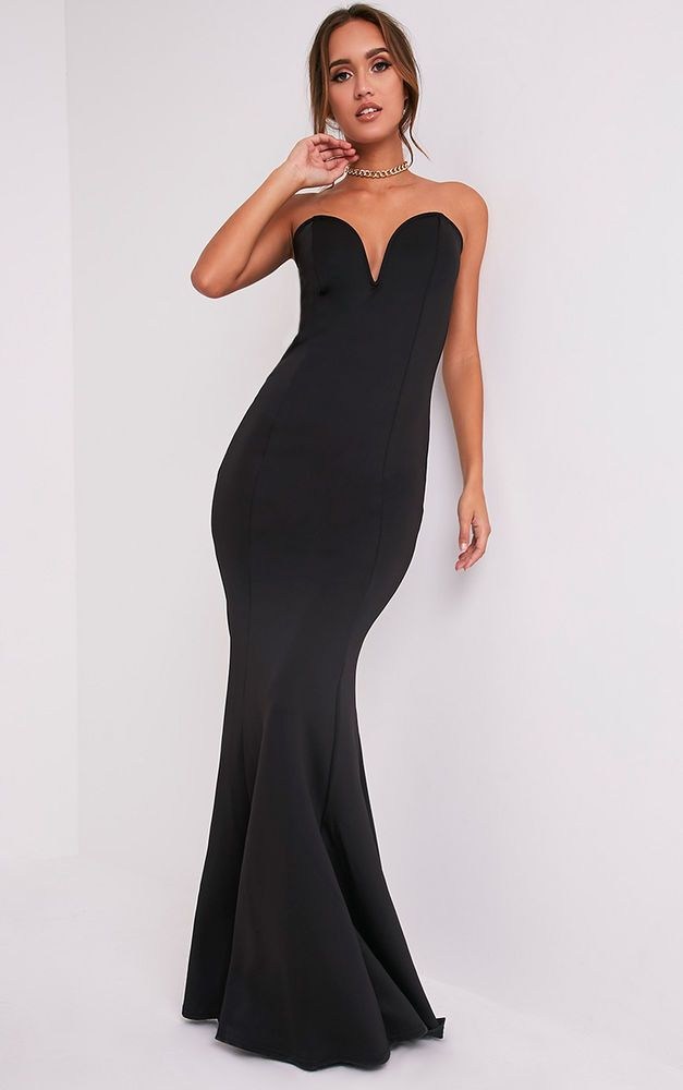 a43547a99d8 PrettyLittleThing Womens Ladies Wendie Black Sweetheart Fishtail Maxi Dress