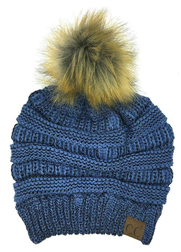 d62536e8f53 Plum Feathers Soft Stretch Cable Knit Ribbed Faux Fur Pom Pom Beanie Hat  (Denim-Metallic)