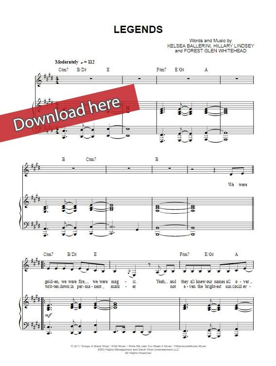 Kelsea Ballerini Legends Sheet Music Piano Notes Chords Sheet