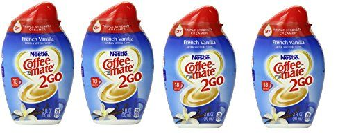 Nestle Coffee-mate 2Go, French Vanilla 2.94 oz, pack of 4 by Nestle. You can tuck these little bottles into your desk drawer and perk up your coffee break at work!